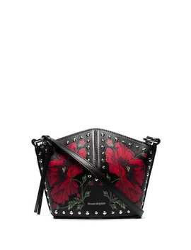 Black And Red Floral Mini Leather Bucket Bag by Alexander Mc Queen