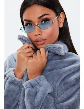 Blue Rimless Cat Eye Sunglasses by Missguided