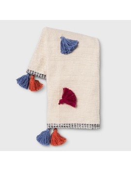 Multi Tassel Throw Blanket Cream   Opalhouse™ by Shop Collections