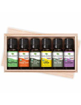 Plant Therapy Top 6 Organic Essential Oils Set | Lavender, Peppermint, Eucalyptus, Lemon, Tea Tree, In A Wooden Box | 100 Percents Pure, Usda Organic, Natural Aromatherapy, Therapeutic Grade | 10 M L (⅓ Oz) by Plant Therapy