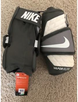 Nike Men's Vapor Elite Lacrosse Arm Pads (L) Apv603 White/Gray Retail $100 by Nike
