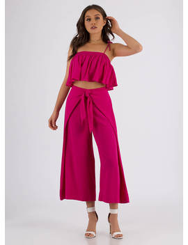 Knot For You Flared Top And Pant Set by Go Jane