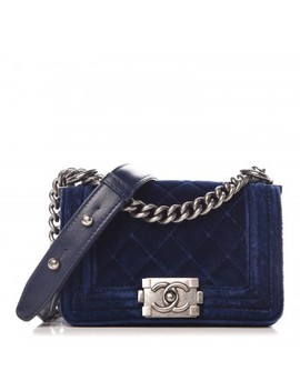Chanel Velvet Quilted Mini Boy Flap Blue by Chanel