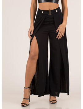 Slits Been Awhile Split Palazzo Pants by Go Jane