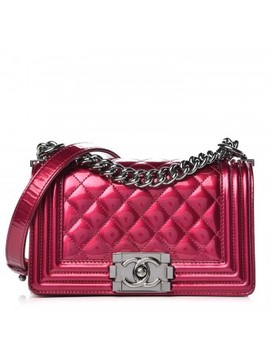 Chanel Metallic Patent Calfskin Quilted Small Boy Flap Pink by Chanel