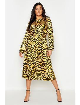Plus Knot Front Zebra Midi Dress by Boohoo