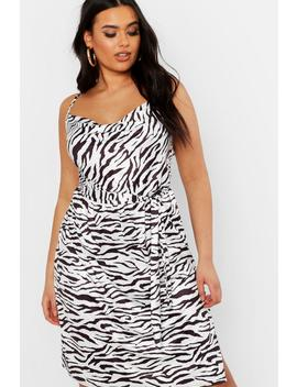 Plus Pastel Zebra Slinky Cowl Midi Dress by Boohoo