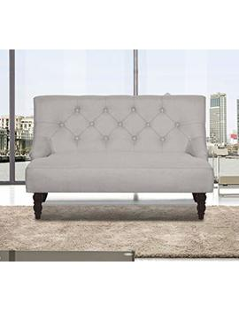 Us Pride Furniture S5268 L Angelina Mid Century Button Tufted Loveseat, Beige by Amazon