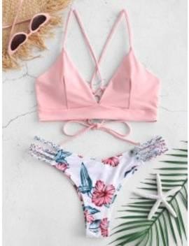 Popular Zaful Lace Up Braided Flower Bikini Set   Light Pink S by Zaful