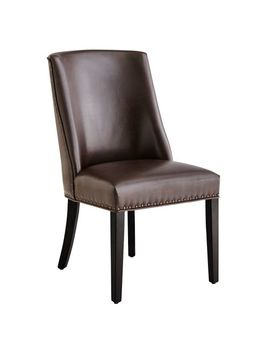 Brown Dining Chair With Black Espresso Wood by Corinne Collection
