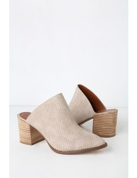 Tosh Stone Snake Embossed Pointed Toe Mules by Report