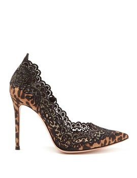 Evie 105 Leopard Print Satin Pumps by Gianvito Rossi