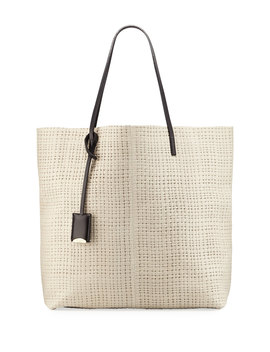 Leather Medium Tote Bag, Ivory by Linde Gallery