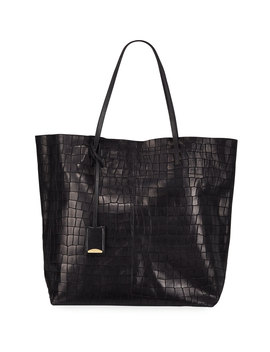 Gouverneur Croc Embossed Medium Tote Bag by Linde Gallery