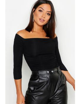 Rib Ruched Front Short Sleeve Crop by Boohoo