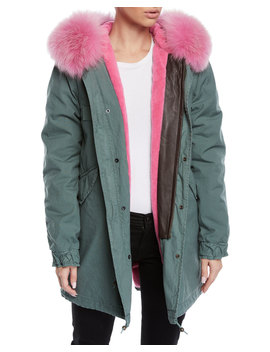 Fox Fur Trim Canvas Parka Jacket W/ Teddy Velvet Lining by Mr&Mrs Italy