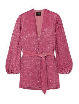 Mini Robe Portefeuille En Mousseline à Sequins Et à Finition En Velours Gabrielle by Retrofête