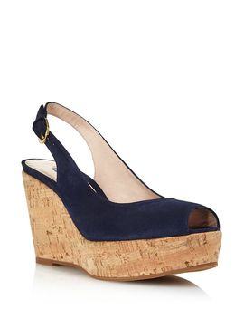 Women's Jean Peep Toe Platform Wedge Sandals by Stuart Weitzman