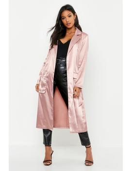 Trench à Ceinture En Satin Fonctionnel by Boohoo