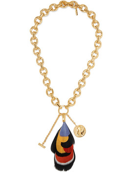 Gold Tone And Feather Necklace by Chloé