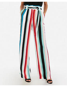 High Waisted Multi Stripe Sash Tie Wide Leg Pant by Express