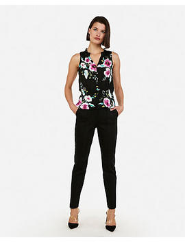Floral Print Cinched Waist Sleeveless Shirt by Express