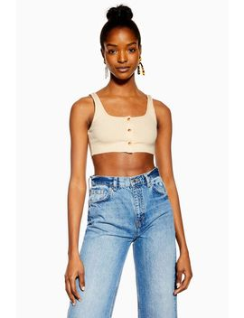 Cream Tortoiseshell Button Bralet by Topshop