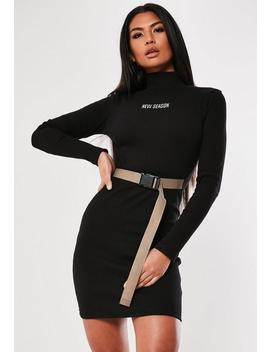 Black New Season Belted Bodycon Mini Dress by Missguided