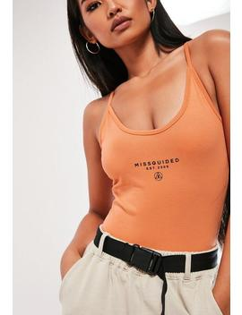 Orange Strappy Slogan Bodysuit by Missguided