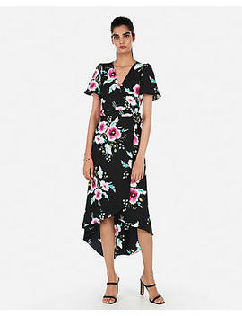 Floral Print Surplice Hi Lo Wrap Midi Dress by Express