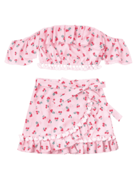Cherry Ruffled Tassel Skirts Set   Light Pink L by Zaful