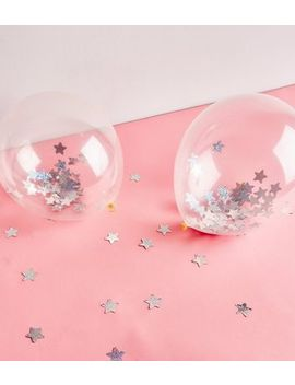 Silver Holographic Star Confetti Balloons by New Look