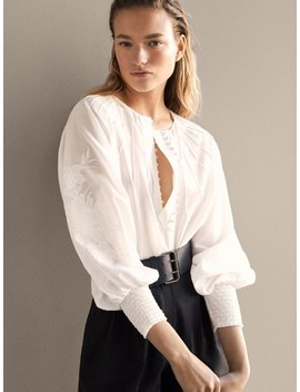Embroidered Cotton Blouse by Massimo Dutti