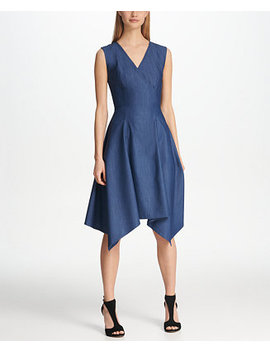 Denim V Neck Handkerchief Hem Dress by Dkny