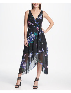 Chiffon V Neck Midi Dress With Belt, Created For Macy's by Dkny