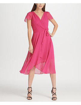 Hi Lo Surplice Chiffon Dress, Created For Macy's by Dkny