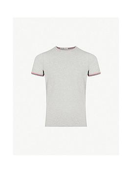 Stripe Trim Stretch Cotton T Shirt by Moncler