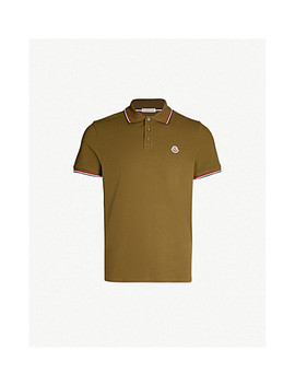 Stripe Trimmed Cotton Piqué Polo Shirt by Moncler