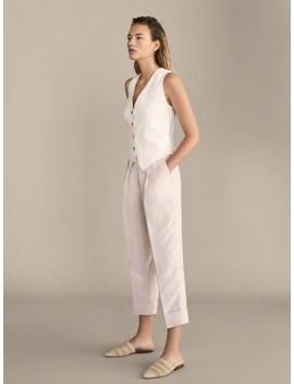 Slim Fit Darted Linen Trousers by Massimo Dutti