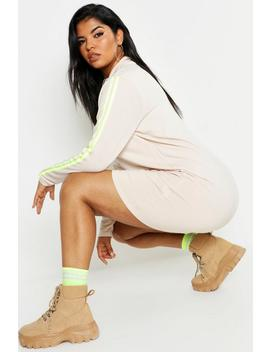 Plus Neon Side Stripe Sweat Dress by Boohoo