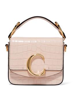 Chloé C Mini Suede Trimmed Croc Effect Leather Shoulder Bag by Chloé