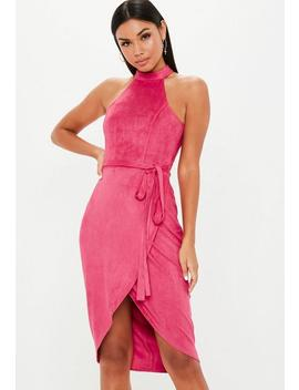 Hot Pink High Neck Suede Tie Midi Dress by Missguided