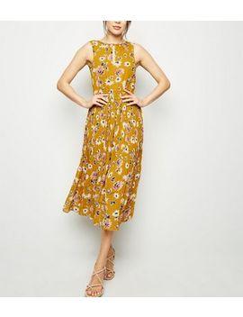 Blue Vanilla Mustard Floral Pleated Midi Dress by New Look