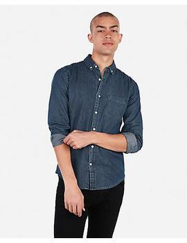 Slim Denim Soft Wash Button Down Shirt by Express