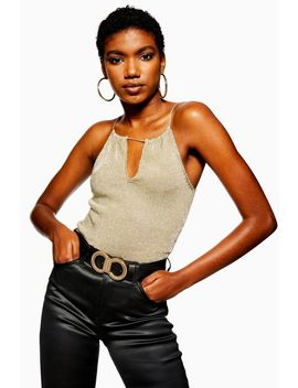 Metallic Plunge Cami Top by Topshop