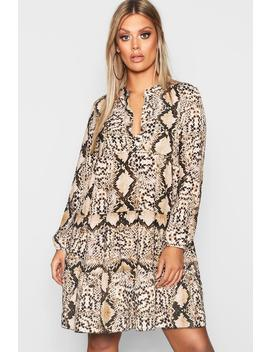 Plus Snake Smock Dress by Boohoo