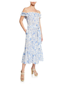 Printed Off The Shoulder Ruffle Midi Dress by Tory Burch