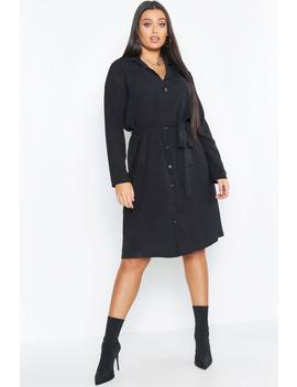 Plus Utility Tie Belted Shirt Dress by Boohoo