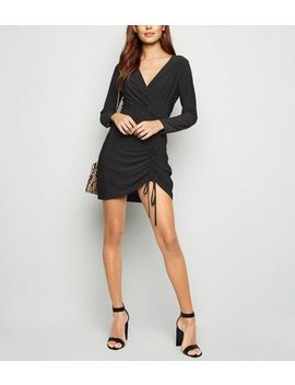 Cameo Rose Black Ruched Wrap Front Dress by New Look