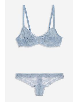 Pale Blue Lace Underwear Set by Topshop